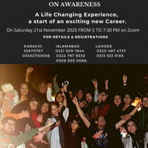 Free Workshop on Awareness Saturday 21st November 2020 from 5 to 7:30 pm
