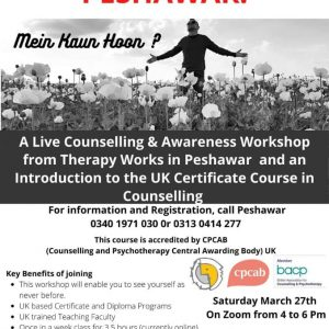 Live Counselling Workshop in Peshawar about UK Certificate in Counselling