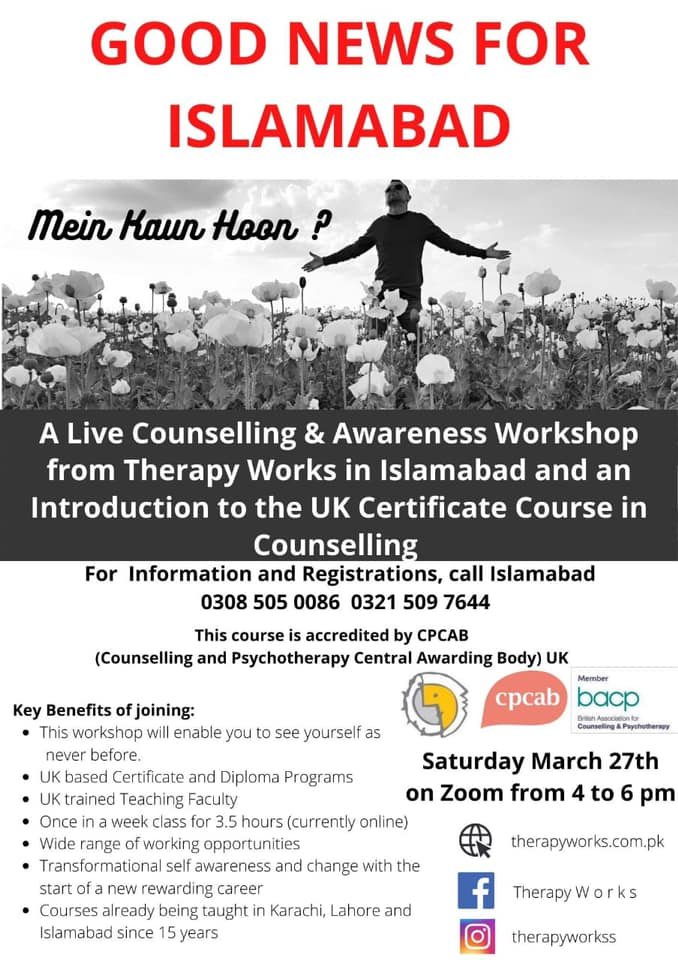 Live Counselling Workshop in Islamabad about UK Certificate in Counselling