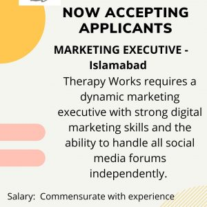 Therapy works is Hiring a Marketing Executive in Islamabad.