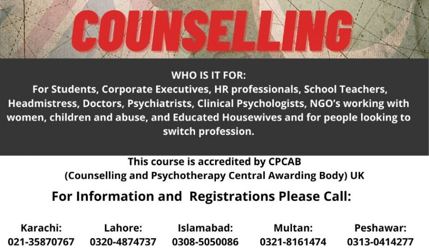 UK Course in Counselling – Admissions are Open All Over Pakistan